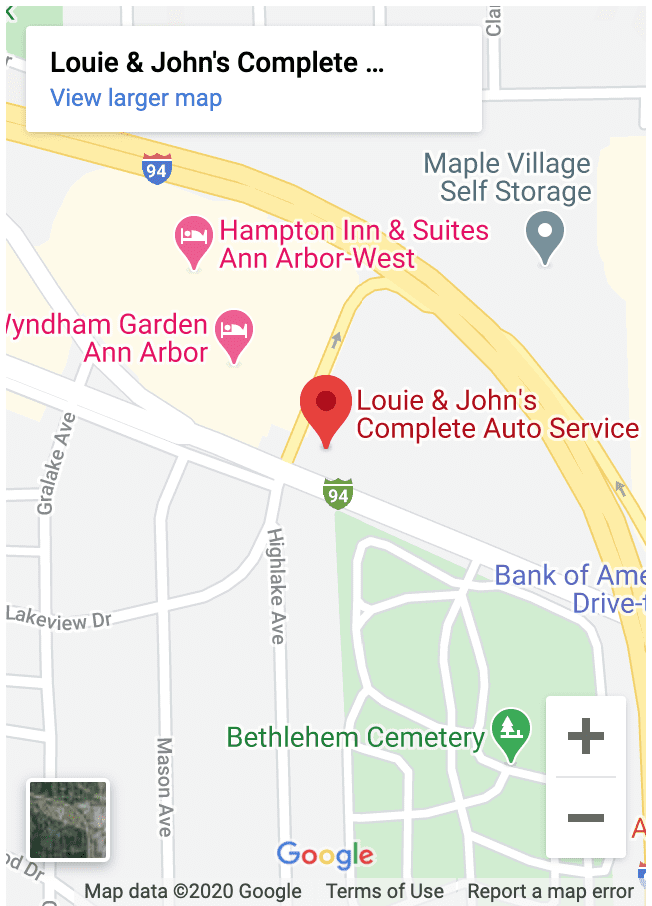 ann arbor auto repair map